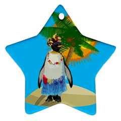 Tropical Penguin Ornament (star) by Valentinaart