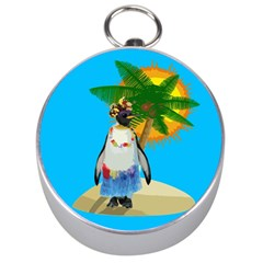Tropical Penguin Silver Compasses by Valentinaart