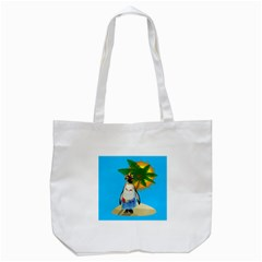 Tropical Penguin Tote Bag (white) by Valentinaart