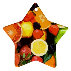 Fruits Pattern Ornament (star) by Valentinaart