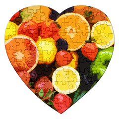 Fruits Pattern Jigsaw Puzzle (heart) by Valentinaart
