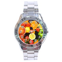 Fruits Pattern Stainless Steel Analogue Watch by Valentinaart