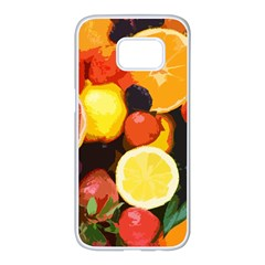 Fruits Pattern Samsung Galaxy S7 Edge White Seamless Case by Valentinaart