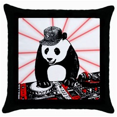 Deejay Panda Throw Pillow Case (black) by Valentinaart