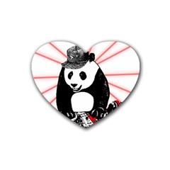 Deejay Panda Rubber Coaster (heart)  by Valentinaart