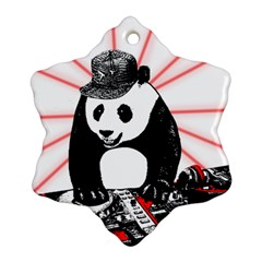 Deejay Panda Snowflake Ornament (two Sides) by Valentinaart