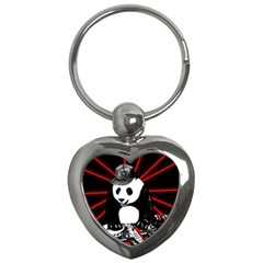 Deejay Panda Key Chains (heart)  by Valentinaart