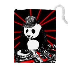 Deejay Panda Drawstring Pouches (extra Large) by Valentinaart