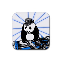 Deejay Panda Rubber Square Coaster (4 Pack)  by Valentinaart
