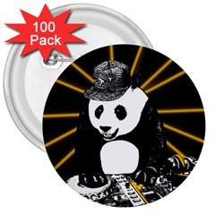 Deejay Panda 3  Buttons (100 Pack)  by Valentinaart