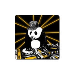 Deejay Panda Square Magnet by Valentinaart
