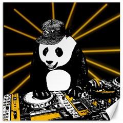 Deejay Panda Canvas 12  X 12   by Valentinaart