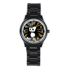 Deejay Panda Stainless Steel Round Watch by Valentinaart