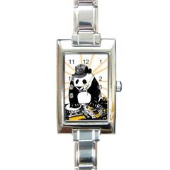Deejay Panda Rectangle Italian Charm Watch by Valentinaart