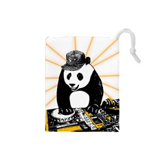 Deejay Panda Drawstring Pouches (small)  by Valentinaart