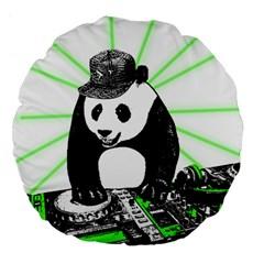 Deejay Panda Large 18  Premium Flano Round Cushions by Valentinaart