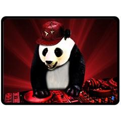 Deejay Panda Fleece Blanket (large)  by Valentinaart