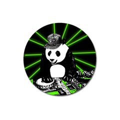 Deejay Panda Magnet 3  (round) by Valentinaart