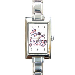 4th Of July Independence Day Rectangle Italian Charm Watch by Valentinaart