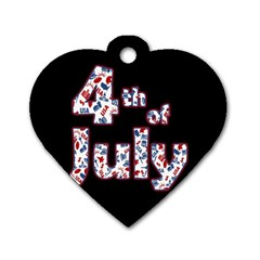 4th Of July Independence Day Dog Tag Heart (one Side) by Valentinaart