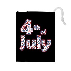 4th Of July Independence Day Drawstring Pouches (large)  by Valentinaart