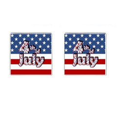 4th Of July Independence Day Cufflinks (square) by Valentinaart