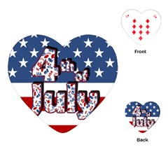 4th Of July Independence Day Playing Cards (heart)  by Valentinaart