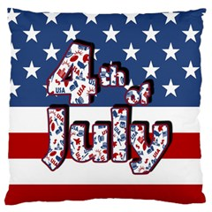 4th Of July Independence Day Large Flano Cushion Case (one Side) by Valentinaart