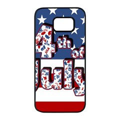 4th Of July Independence Day Samsung Galaxy S7 Edge Black Seamless Case by Valentinaart