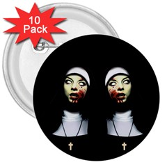 Horror Nuns 3  Buttons (10 Pack)  by Valentinaart