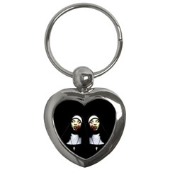 Horror Nuns Key Chains (heart)  by Valentinaart