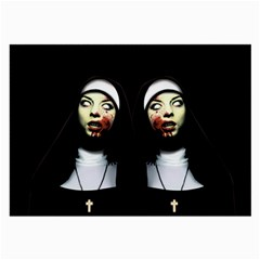 Horror Nuns Large Glasses Cloth (2 Side) by Valentinaart