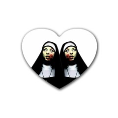 Horror Nuns Heart Coaster (4 Pack)  by Valentinaart