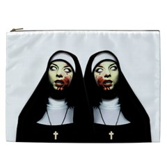 Horror Nuns Cosmetic Bag (xxl)  by Valentinaart