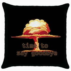 Nuclear Explosion Throw Pillow Case (black) by Valentinaart