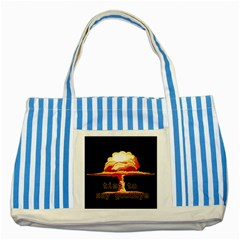Nuclear Explosion Striped Blue Tote Bag by Valentinaart