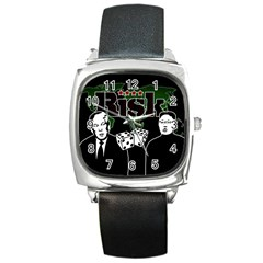 Nuclear Explosion Trump And Kim Jong Square Metal Watch by Valentinaart