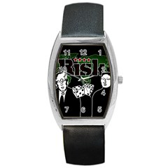Nuclear Explosion Trump And Kim Jong Barrel Style Metal Watch by Valentinaart