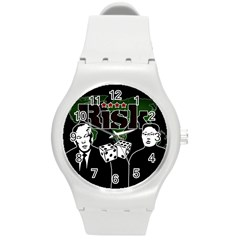 Nuclear Explosion Trump And Kim Jong Round Plastic Sport Watch (m) by Valentinaart