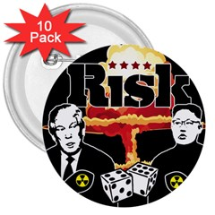 Nuclear Explosion Trump And Kim Jong 3  Buttons (10 Pack)  by Valentinaart