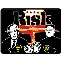 Nuclear Explosion Trump And Kim Jong Double Sided Fleece Blanket (large)  by Valentinaart