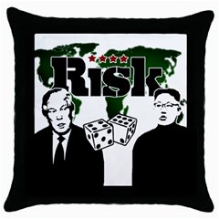Nuclear Explosion Trump And Kim Jong Throw Pillow Case (black) by Valentinaart