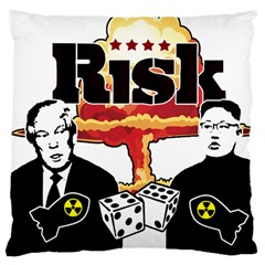 Nuclear Explosion Trump And Kim Jong Large Cushion Case (one Side) by Valentinaart