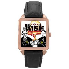 Nuclear Explosion Trump And Kim Jong Rose Gold Leather Watch  by Valentinaart