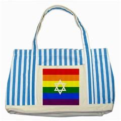 Gay Pride Israel Flag Striped Blue Tote Bag by Valentinaart