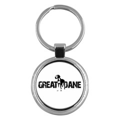 Great Dane Key Chains (round)  by Valentinaart