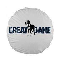 Great Dane Standard 15  Premium Flano Round Cushions by Valentinaart