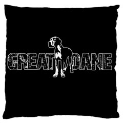 Great Dane Large Flano Cushion Case (one Side) by Valentinaart