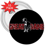 Great Dane 3  Buttons (10 pack)