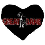 Great Dane Large 19  Premium Heart Shape Cushions